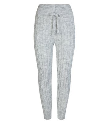 Cameo Rose Pale Grey Cable Knit Leggings | New Look