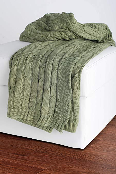 Amazon.com: Rizzy Home Cable Knit Throw Blanket Olive: Home & Kitchen