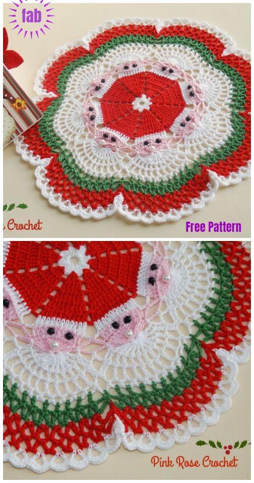 Christmas Crochet Santa Doily Free Crochet Patterns | Crochet