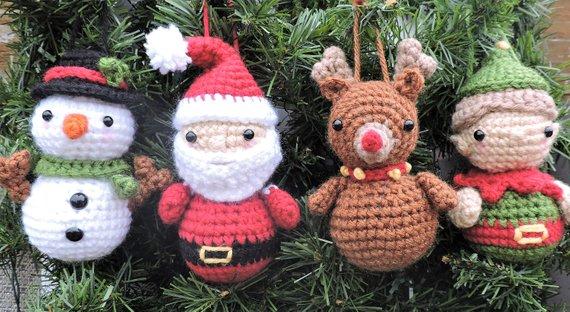 Christmas Crochet Pattern, Christmas Ornament Crochet Pattern, Christmas  Ornaments Pattern, Crochet Santa, Crochet Snowman, Crochet Rudolph