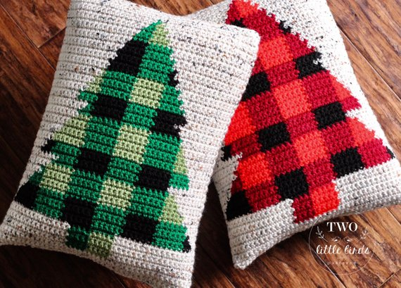 Christmas crochet pattern, crochet pillow pattern, buffalo plaid, buffalo  check, crochet Christmas tree, pdf file, The BUFFALO SPRUCE Pillow