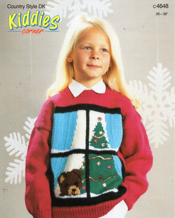 childrens Christmas jumper knitting pattern PDF Christmas tree | Etsy