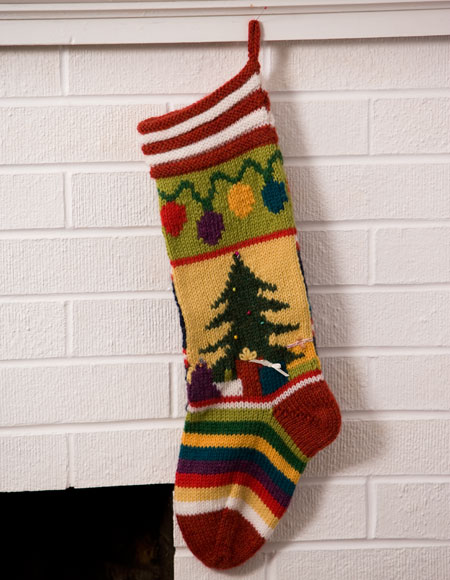 Mix-It-Up Christmas Intarsia Stocking Pattern - Knitting Patterns