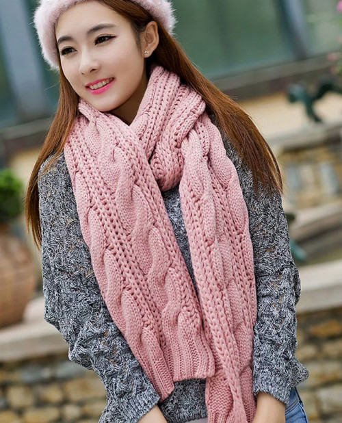 Pink Cable Knit Scarf. Chunky Knitted Scarf. Color Choice | GlamUp