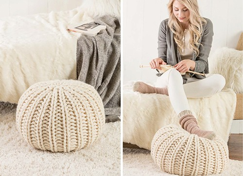 Chunky Knit Pouf Knitting Pattern