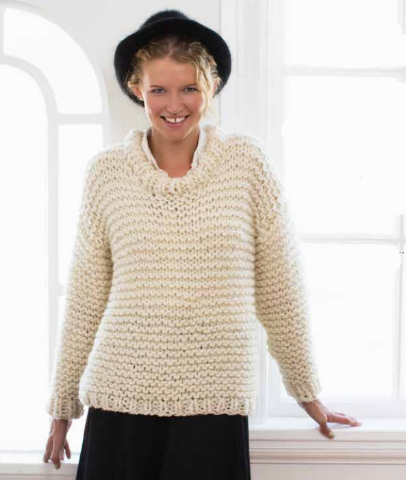 Easy and Quick Chunky Knit Sweater Free Knitting Pattern ⋆ Knitting Bee