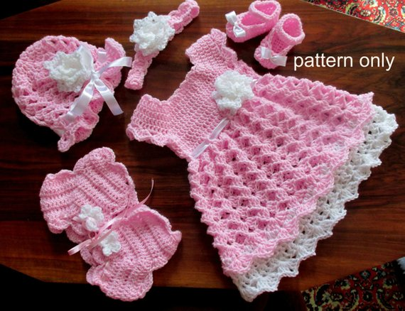 Baby dress set Crochet Pattern crochet baby dress shrug hat | Etsy