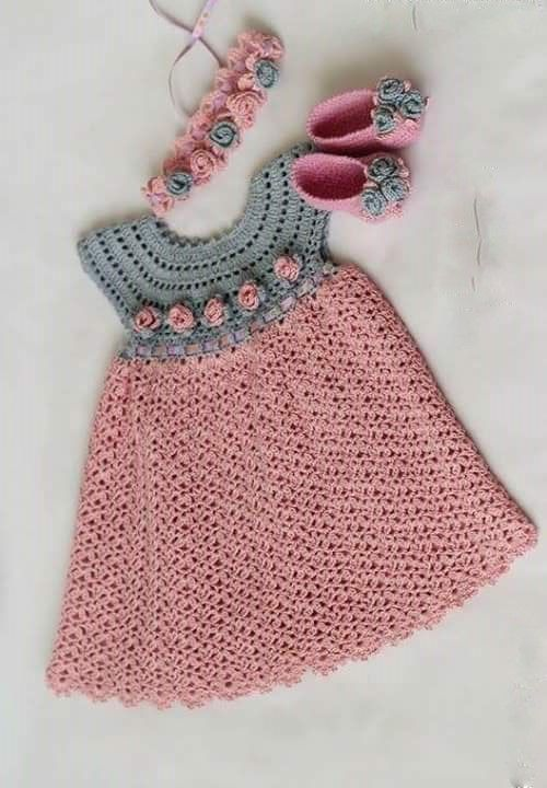 See that beautiful dress for girls. pink. crochet yarn. | Crochet