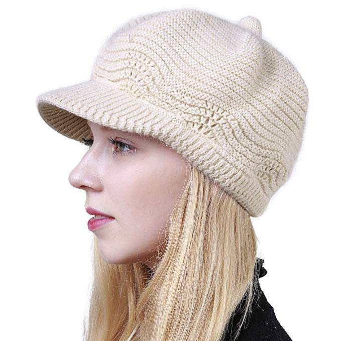 Women's Winter Hat Slouchy Cable Knit Visor Crochet Beanie Hats Warm