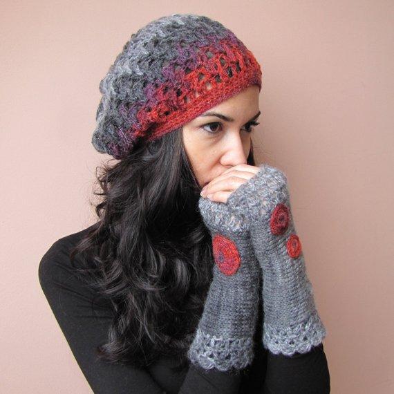 Womens Knit Beret Crochet Beret Hat French Knit Beret Elegant   Etsy