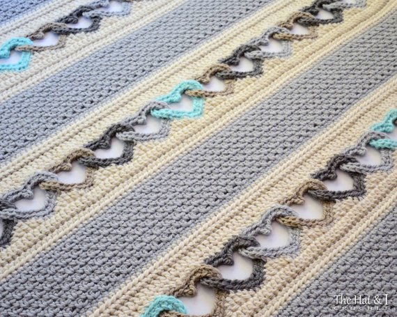 Crochet Blanket PATTERN With All My Heart crochet pattern | Etsy
