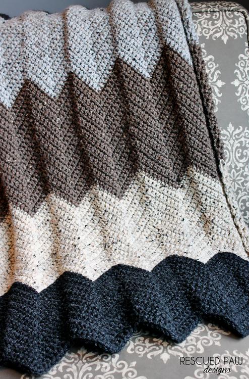 Free Chevron Crochet Blanket Pattern   Blanket Statement   Pinterest