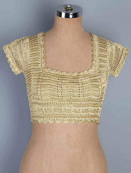 Buy Golden Neemzari Thread Crochet Blouse Online at Jaypore.com