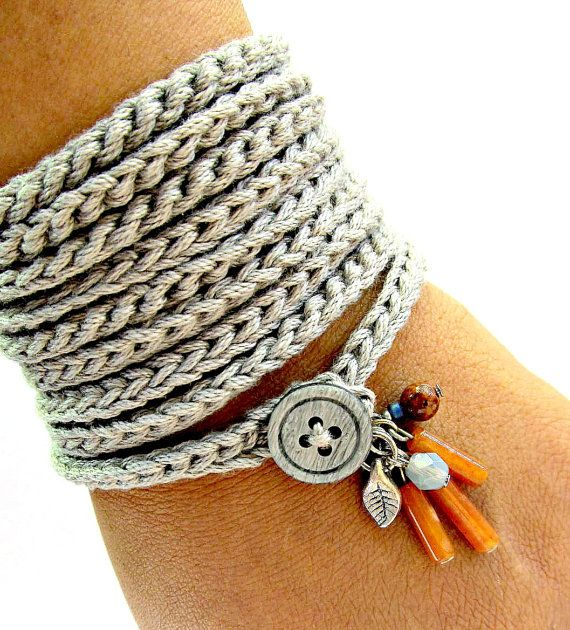 Crochet bracelet with charms, wrap bracelet, silver grey, cuff