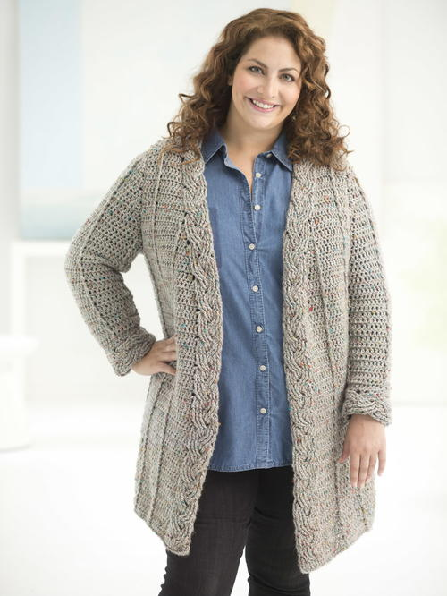 Curvy Girl Cable Crochet Cardigan | AllFreeCrochet.com