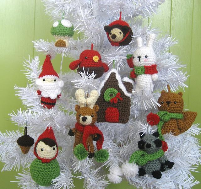 Ravelry: Woodland Christmas Ornament Crochet Pattern Set pattern by