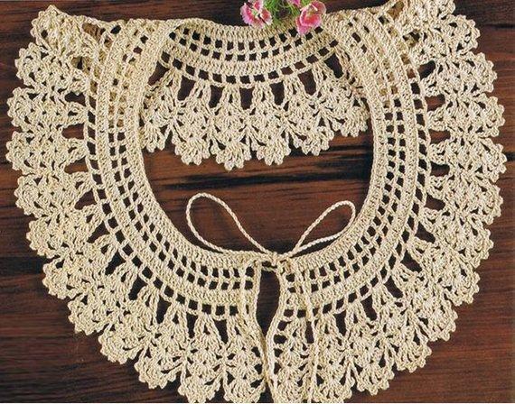 Crochet Collar Pattern Vintage 70s Crochet Neckline Collar | Etsy