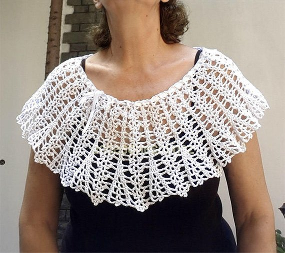 Crocheted Collar Pattern Wedding Collar/Capelet Crochet | Etsy