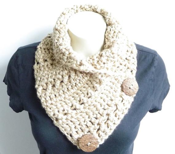 Crochet Cowl Pattern Crochet Scarf Pattern Button Scarf Button | Etsy