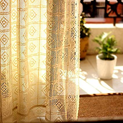 Amazon.com: Fine Lady Crochet Curtains, French Crochet Window Panels