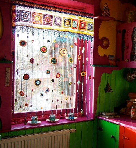 The crocheted window treatment of your rainbow daydreams | windows