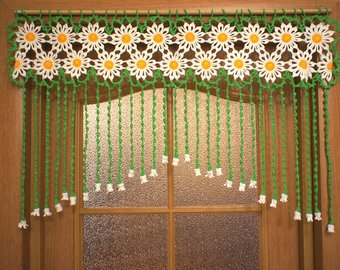 Crochet door curtain | Etsy