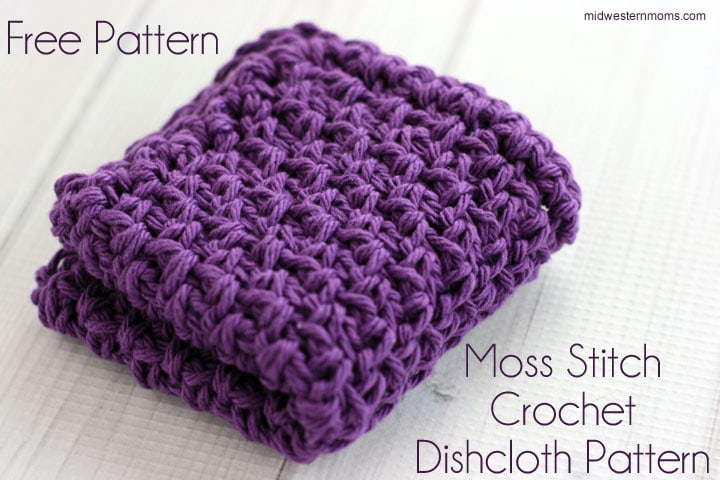 Moss Stitch Crochet Dishcloth Pattern u2013 Midwestern Moms