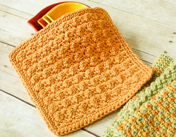 Textured Crochet Dishcloth Pattern | Petals to Picots