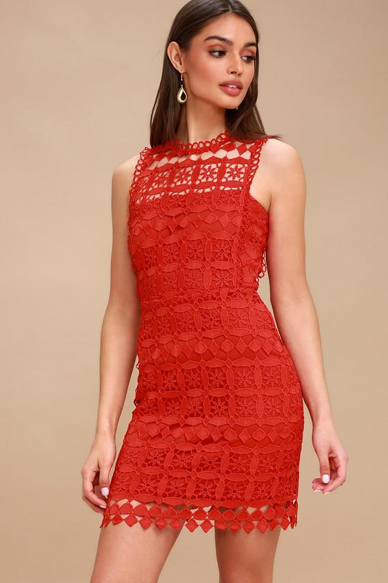 Chic Red Dress - Crochet Lace Dress - Sheath Dress