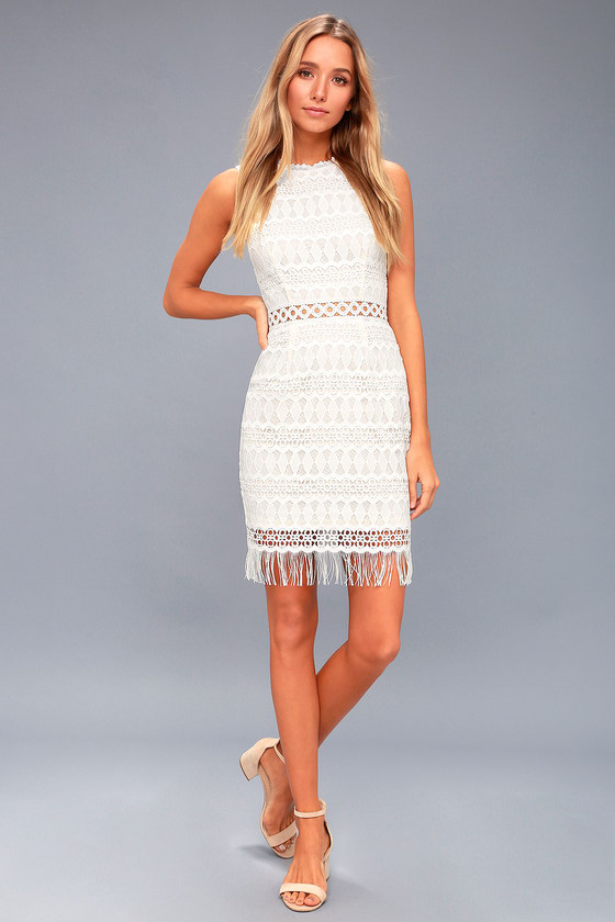 Lovely White Lace Dress - Bodycon Dress - Sleeveless Dress