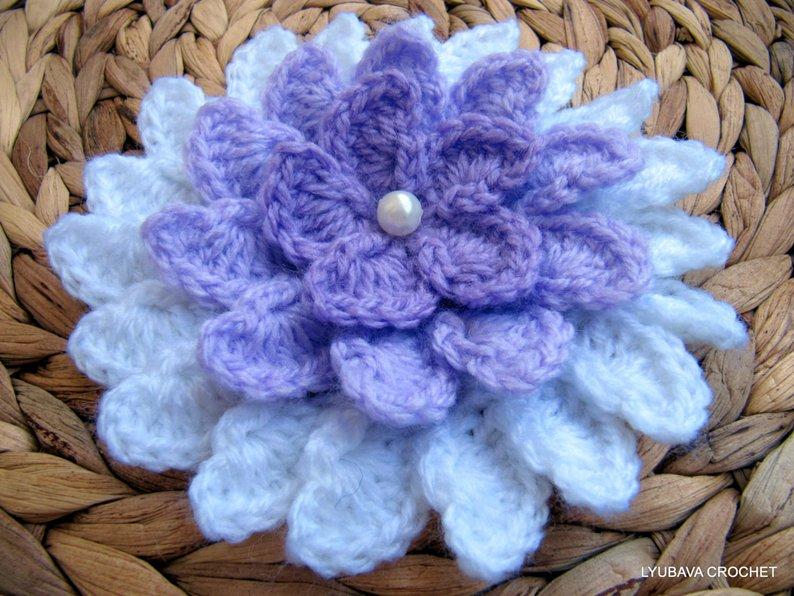 Crochet Flower PATTERN Lilac Flower DIY Crafts Unique | Etsy