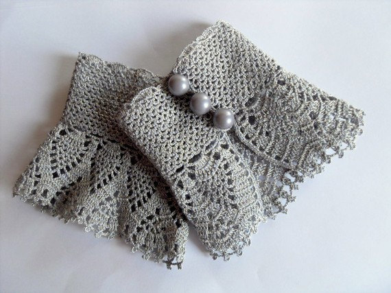 Crochet Gloves Victorian Gloves Gray Lace by SmilingKnitting, $22.00