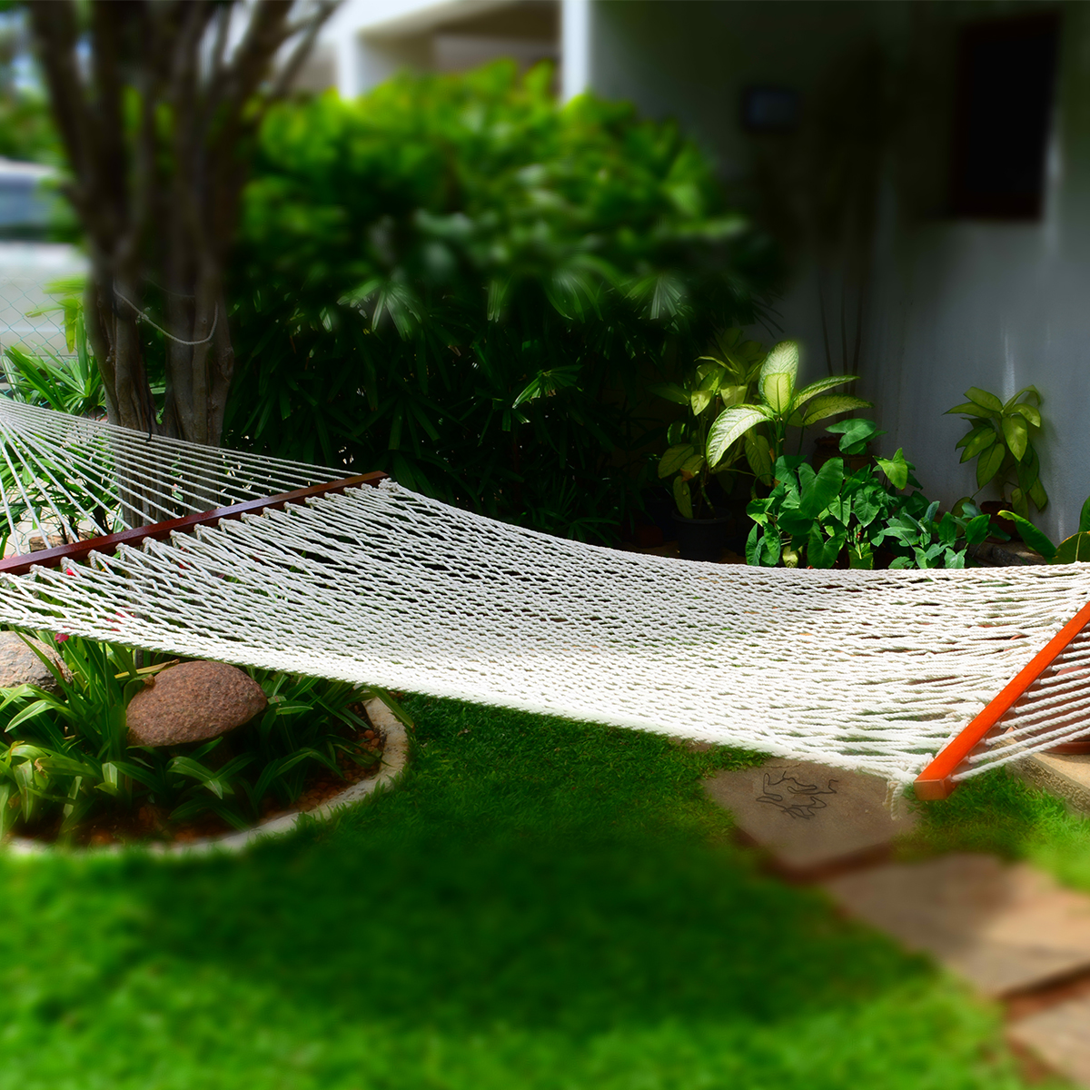 Sol Lving Cotton Close Weave and Crochet Hammock Double 55 x 82