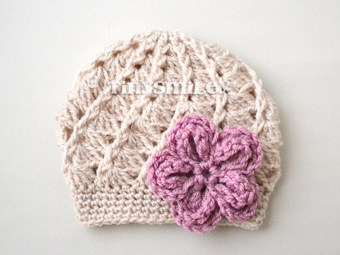 Baby Girl Crochet Hat, Beige Baby Girl Hat, by TinySmiley on Zibbet