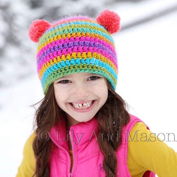 Rainbow Hat, Winter Hat, Crochet Hat, Crochet Pattern, Crochet Hats