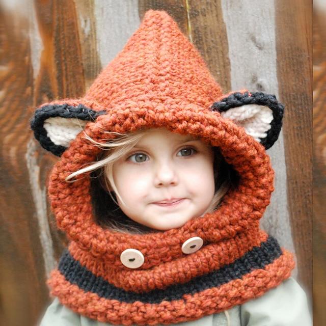 Fashion Winter Crochet Children Hat Neck Warmer Wrap Scarf One piece