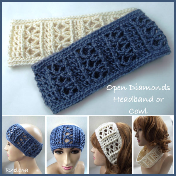 Wide Crochet Headband - Open Diamonds - CrochetN'Crafts