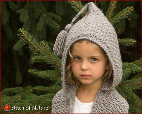 Crochet PATTERN The Elwood Hooded Scarf Toddler to Adult | Etsy