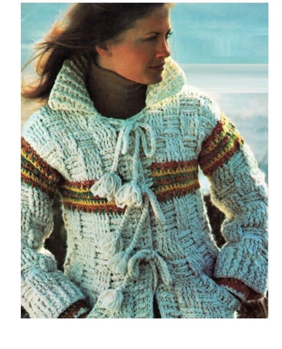 Crochet Cardigan Pattern Vintage 70s Crochet Jacket Pattern | Etsy
