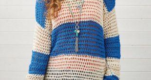 Crochet Slouchy Jumper, Crochet Pattern, Stripy Jumper, Instant