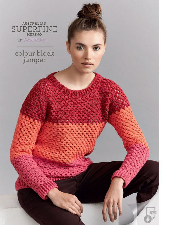 free, crochet, jumper, 8 ply, pattern, superfine, merino