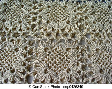 Crochet lace. Pattern of vintage crocheted lace in an ecru color.