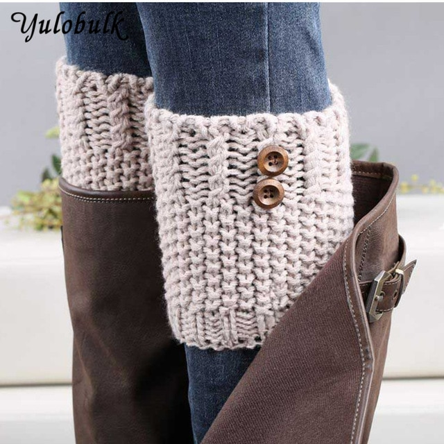 7 Colors Women Short Button Crochet Leg Warmers Winter Fall Knit