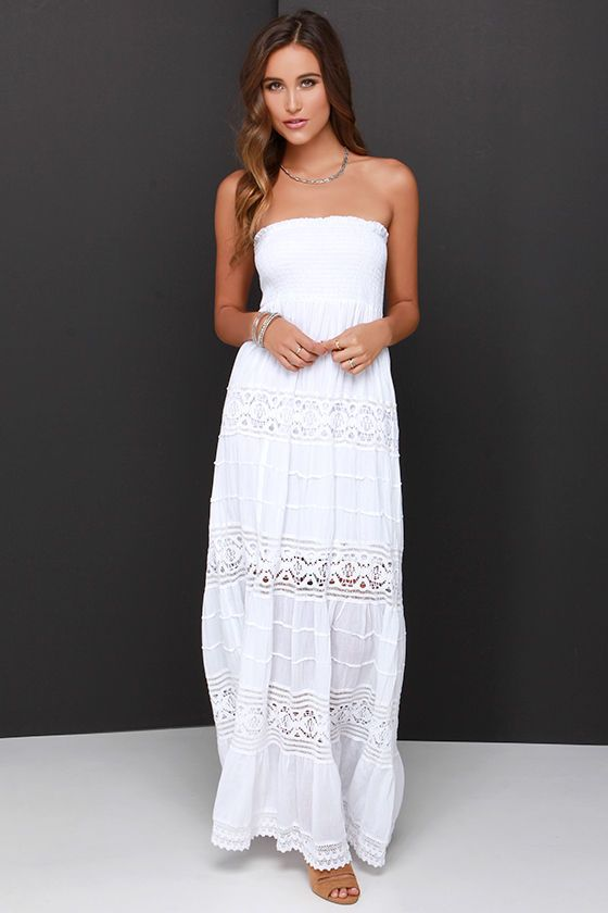 Vacation Migration Ivory Strapless Crochet Maxi Dress | Style