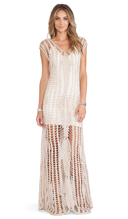 Tularosa Penelope Crochet Maxi Dress in Stone | REVOLVE
