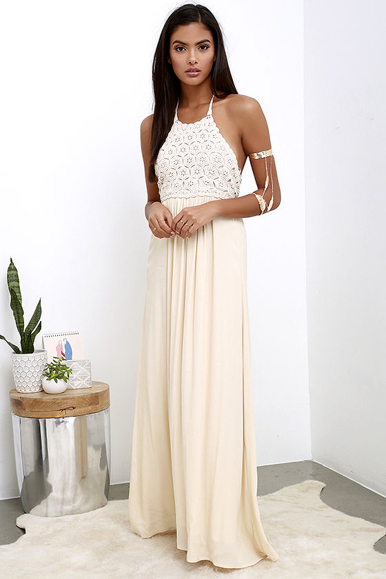 Crochet Dress - Maxi Dress - Beige Dress - Backless Dress - $68.00