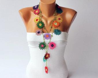 Crochet necklace | Etsy
