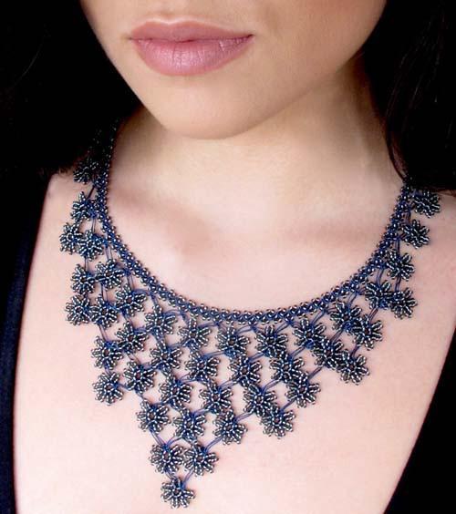 Midnight Blue Petals Cascade Crochet Necklace High 5 Humans|Fair