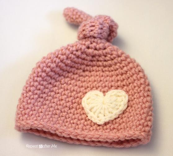 Crochet Newborn Knot Hat Pattern - Repeat Crafter Me