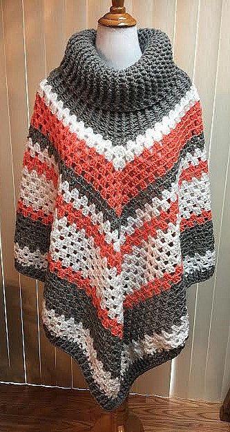 Crochet Poncho, Cowl Neck Poncho, Gray Poncho, Boho Poncho, Crochet